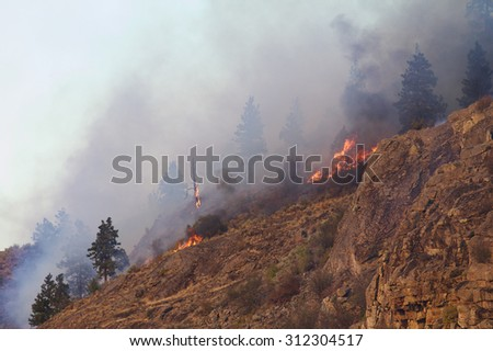 Steep rocky cliff burns during the 2015 Okanogan Complex Wild Fire, the largest, most destructive forest fire in Washington State history