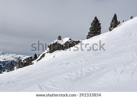 Steep slope with snow, rocks and trees in the Alps, Austria (Zillertal Arena) - stock photo