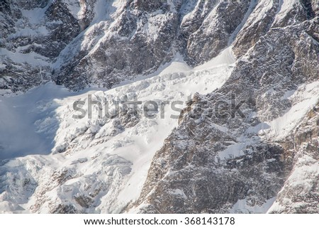 Steep slopes and little glacier of the Matterhorn mountain. Cervinia, Aosta, italy in January 2016 - stock photo