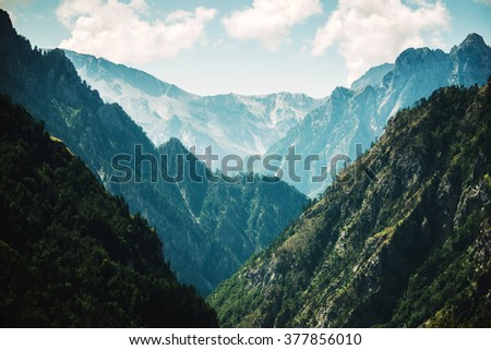steep slopes of the mountains, summer landscape large. - stock photo