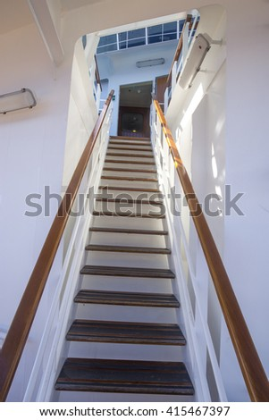 Steep Stairs To The Bridge On A Cruise Ship