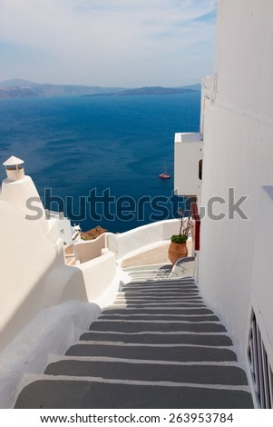 steep stairs to the sea and  volcano caldera, beautiful details of Santorini island, Greece - stock photo