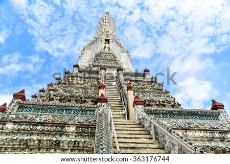Steep Stairways to the Top of Wat Arun - stock photo