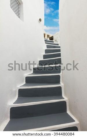 steep steps , beautiful details of Santorini island, Greece - stock photo