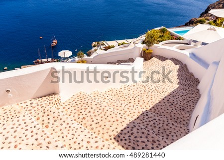 steep steps , beautiful details of Santorini island, Greece