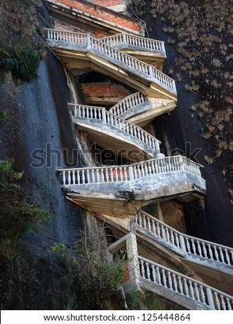 Steep steps rising up Piedra el Penol, near Medellin, Colombia. - stock photo