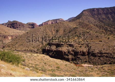 Steep valley of  Salt River Canyon, Arizona