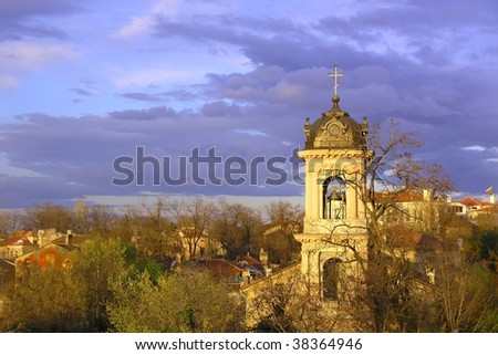 Steeple in the old city of Plovdiv Bulgaria - stock photo