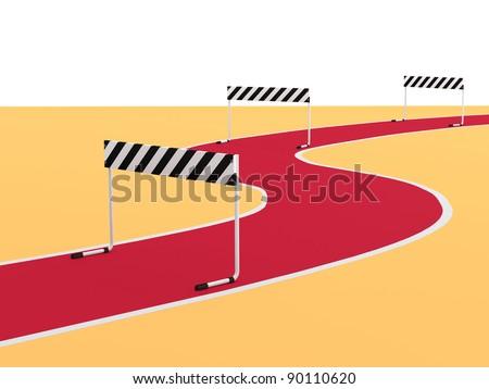Steeplechase. 3D sports illustration - stock photo