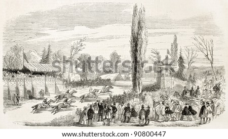 Steeplechase in La Marce racecourse, France. Created by Rouargue, published on L'Illustration, Journal Universel, Paris, 1858 - stock photo