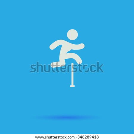 Steeplechase White flat simple pictogram on blue background with shadow  - stock photo
