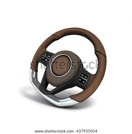 Steering automobile wheel 3d render  isolated on the white background clipping path included