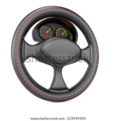 Steering wheel and dashboard isolated on white background. 3d rendering image - stock photo