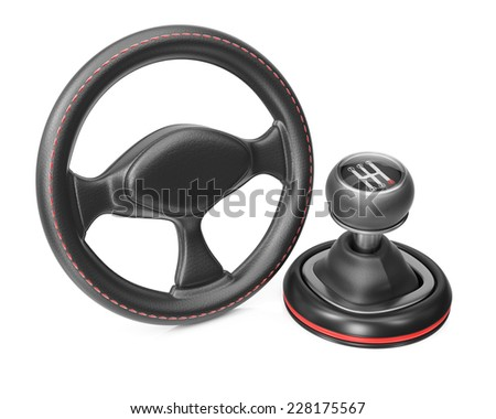 Steering wheel and gearbox isolated on white background. 3d rendering image