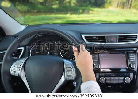 steering wheel and other devices of  car - stock photo