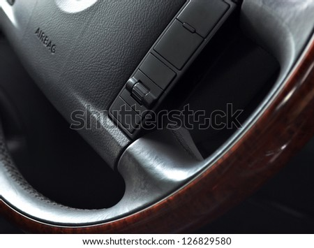 Steering wheel close up