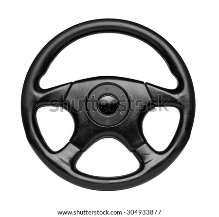 Steering wheel, isolated on the white background, clipping path included