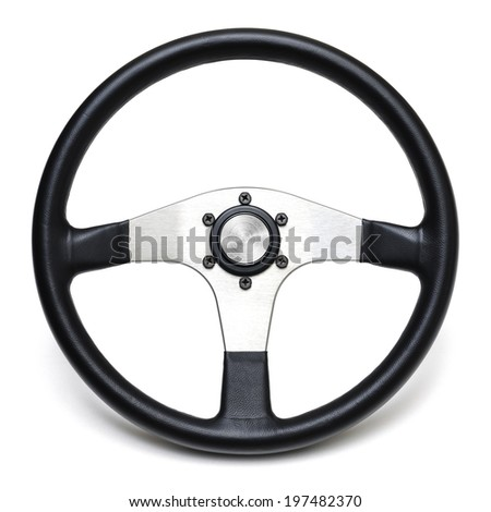steering wheel isolated white background - stock photo