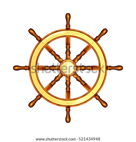 Steering wheel Marine. Steering wheel. Illustration