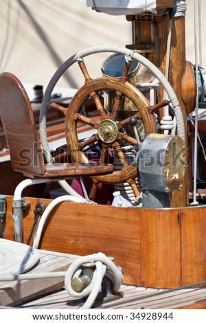 steering wheel of a sailing-boat