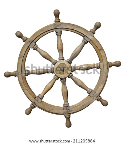 Steering wheel of ship isolated on white with clipping path included
