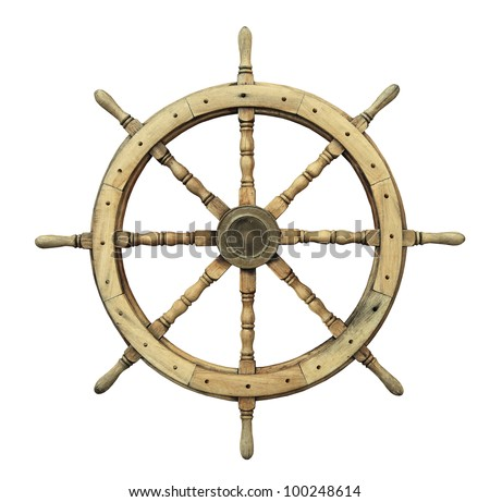 Steering wheel of the ship isolated on white - stock photo