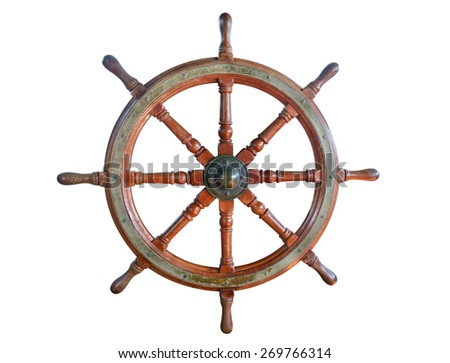 Steering wheel of the ship isolated on white background. - stock photo