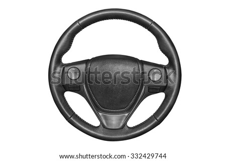 Steering wheel on a white background. - stock photo