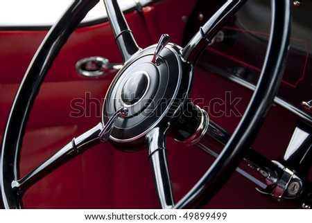 Steering wheel on classic car from the late 1930ies - stock photo