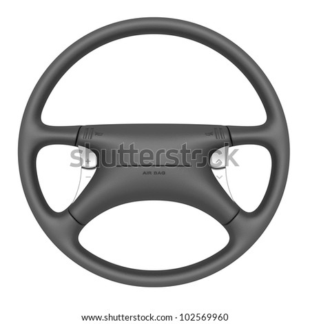 Steering wheel with airbag isolated on white background - stock photo