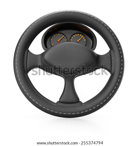 Steering wheel with dashboard isolated on white background. 3d render - stock photo