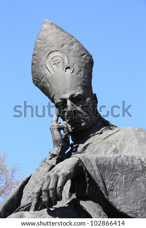 Stefan Wyszynski statue in Warsaw, Poland. Wyszynski (1901-1981) was a Polish prelate of the Roman Catholic Church. He was often called in Poland the Primate of the Millennium.