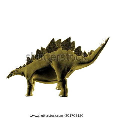 Stegosaurus isolated on white background - stock photo