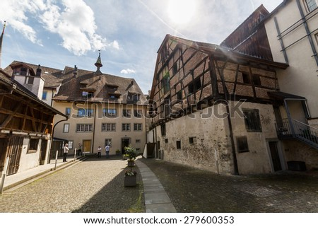 STEIN AM RHEIN, SWITZERLAND - MAY 17: Town Hall and various houses in the old town of Stein am Rhein on May 17, 2015. Its a municipality in the canton of Schaffhausen in Switzerland.