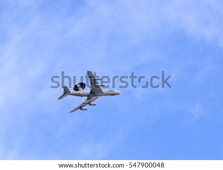 STEINBORN, GERMANY - JUNE 15, 2016: airwax aircraft is on landing approach at the airport from Bitburg, Germany,