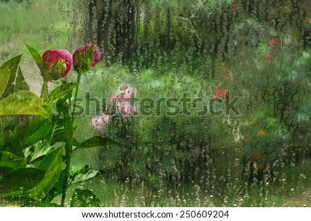 Stele raindrops and flower garden, Valentine's Day cards - stock photo