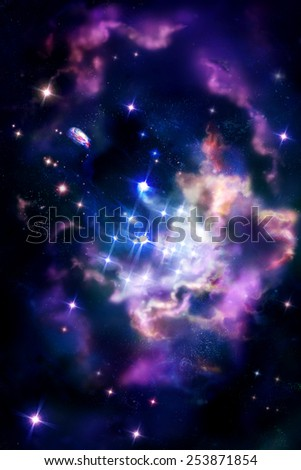 Stellar nurseries - molecular cloud in which the process of star formation. Digital drawing. - stock photo