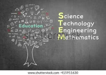 STEM education tree: Science Technology Engineering Mathematics knowledge-based educational integration school practice illustrative graphic design doodle on green chalkboard blackboard background - stock photo