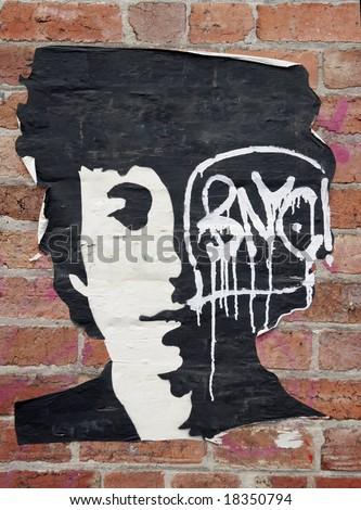 stencil art  of bob dylan - stock photo