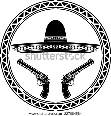 stencil of mexican sombrero and two pistols. first variant. raster version - stock photo