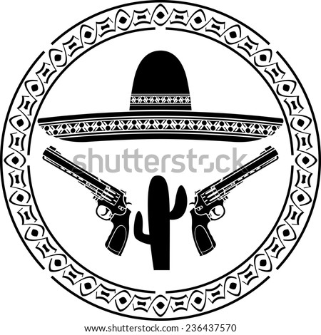 stencil of mexican sombrero and two pistols. second variant. raster version - stock photo