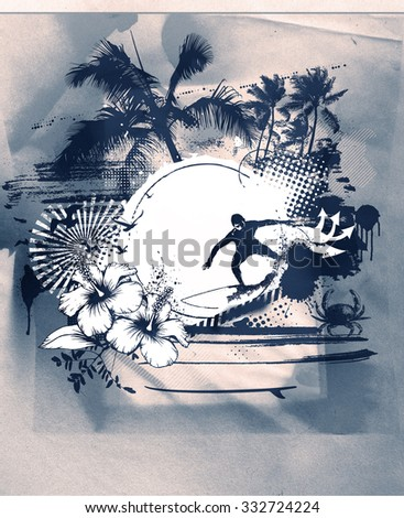 stencil surf scene with beach and surfer - stock photo