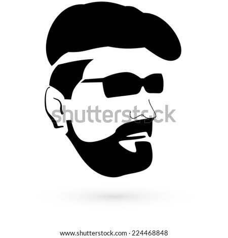 Stencil the face of a man. Raster. Raster. - stock photo