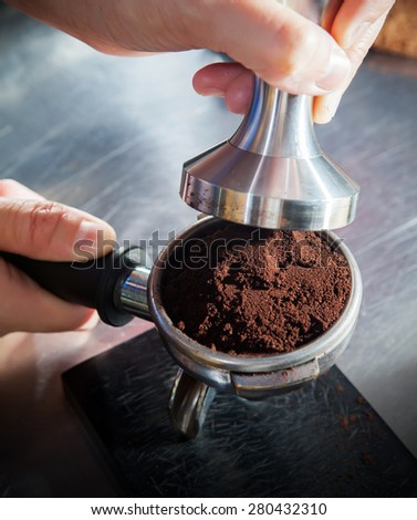 Step by making coffee from coffee bean  - stock photo