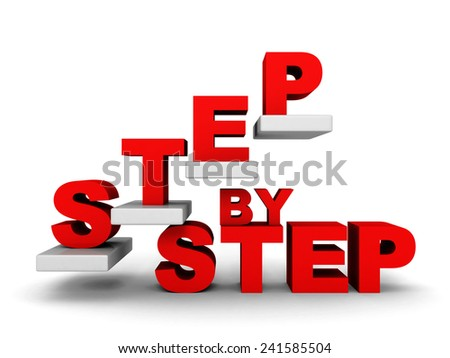 STEP BY STEP concept with abstract staircase. 3d render illustration - stock photo