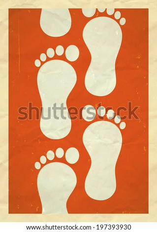 Step by step. Concept with human footprints.  - stock photo