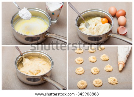 step by step for the preparation of choux pastry eclairs. collage. saucepan with milk, flour and eggs, pastry bag with dough and profiteroles on baking paper. recipe from choux pastry profiteroles - stock photo