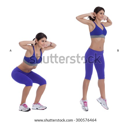 Step by step instruction for Jump squats - stock photo