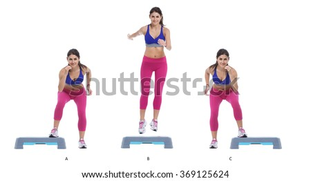 Step by step instructions: put the right foot over the box. (A) Jump sideways over the box (B), moving rapidly from one foot on one side, to the other foot on the other side. (C) - stock photo
