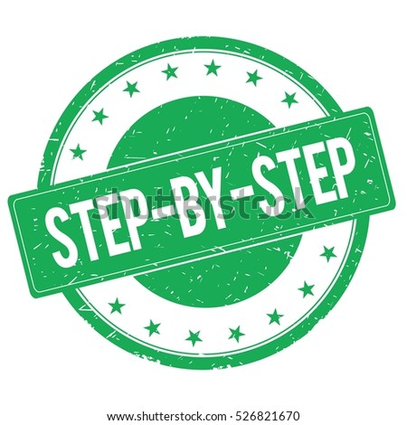STEP BY STEP stamp sign text word logo green.